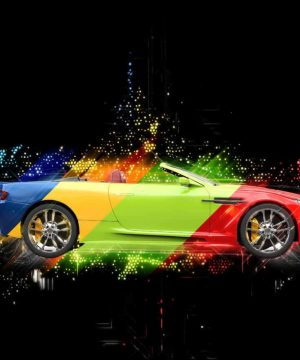 Car splashed in a variety of colours